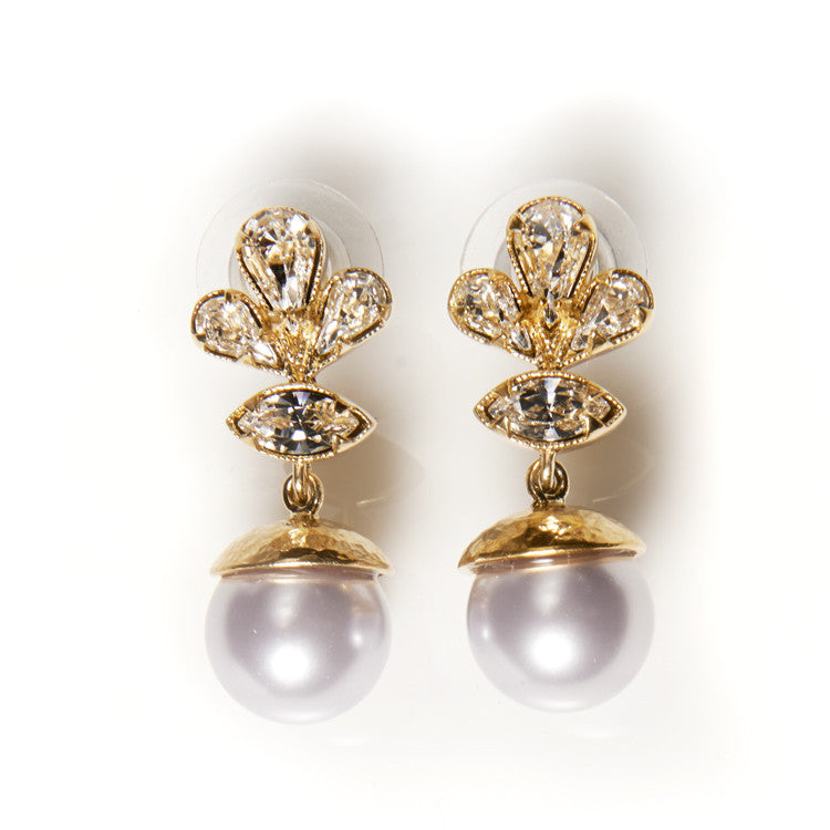 Mauve Pearl Halo Earrings Cabinet Studios