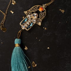 Aqua Hamsa Necklace with Tassel Cabinet Studios