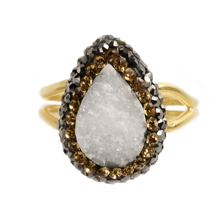 White Druzy Tiny Ilume Ring