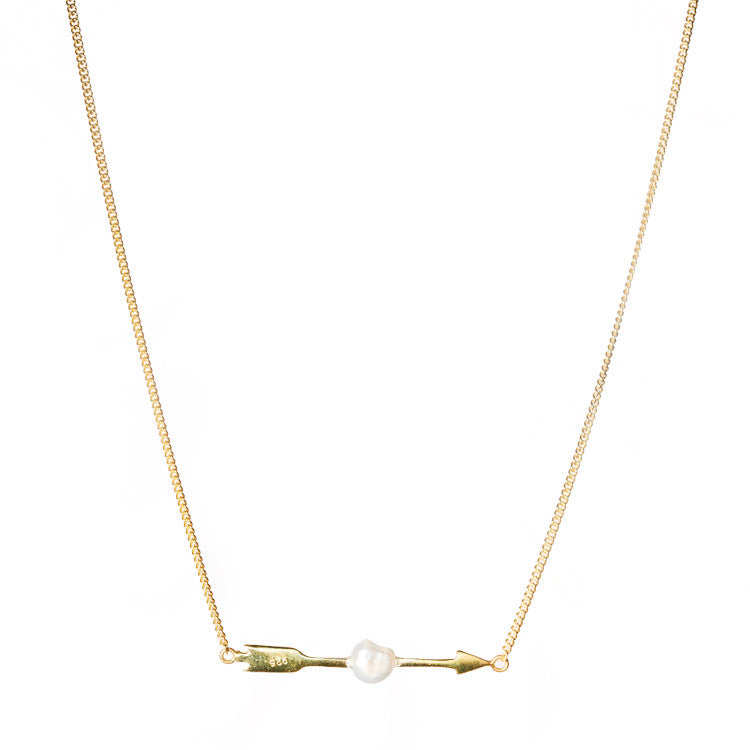 White pearl arrow necklace from anna + nina