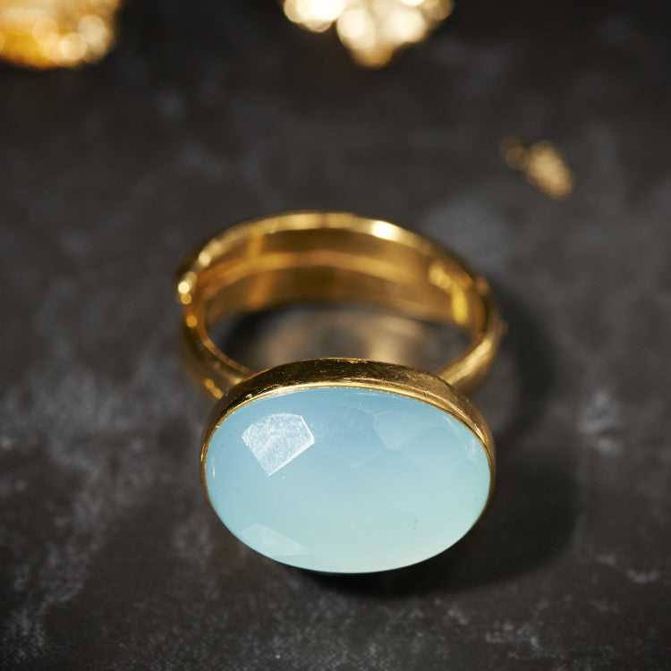 Blue Chalcedony Bonbon ring SVP Jewellery