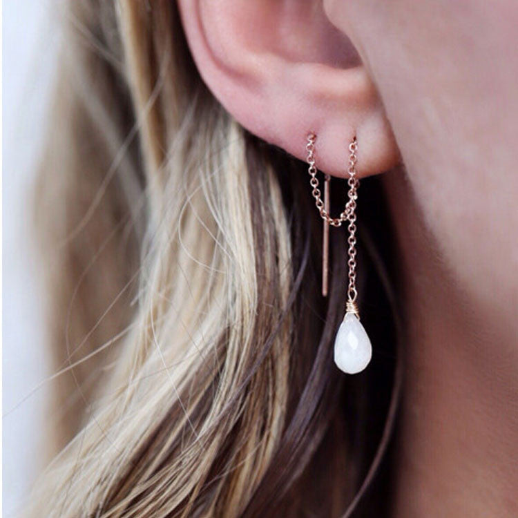 Moonstone Threader Earrings Leah Alexandra