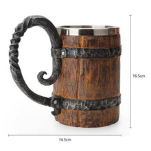 Load image into Gallery viewer, 550ml Wooden barrel beer mug