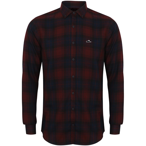 Plaid LS Button Up (Burgundy Check)