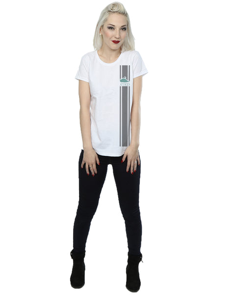 Atticus X Tyler Posey Print #2 'Grand Stripe' Girls Boyfriend Fit T Shirt (White)