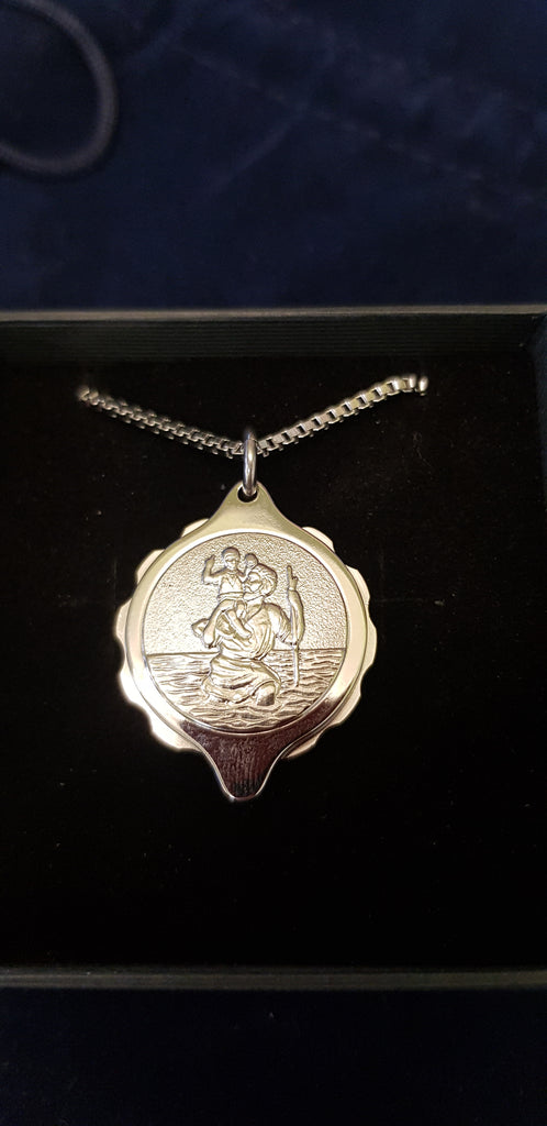 STEEL ST CHRISTOPHER PENDANT AND 22