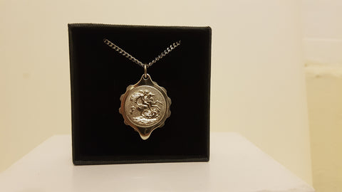 Stainless Steel Pendant with George and Dragon on 22
