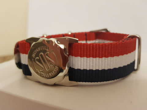 237 209 WATCH ATTACHMENT ON A NYLON STRAP RED, WHITE AND BLUE ! BREXIT TALISMAN !