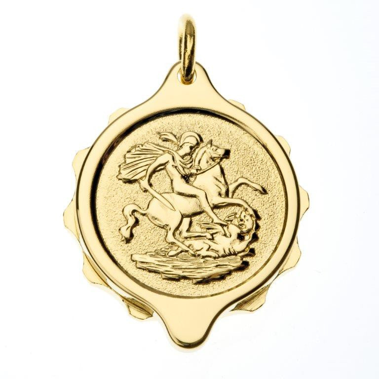 Gold Plated St George & Dragon Pendant with 22