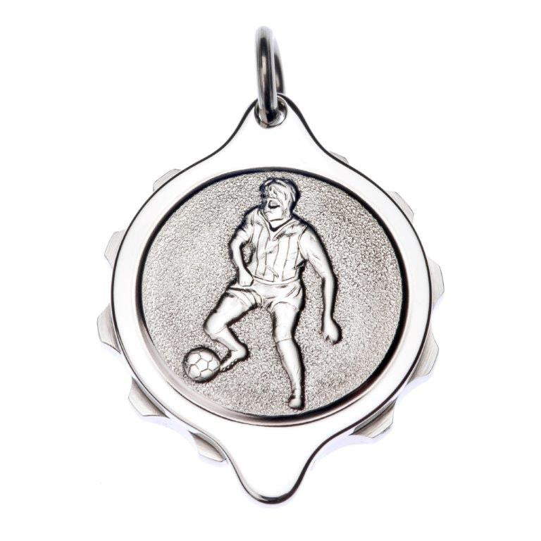 Stainless Steel Footballer Pendant and Chain - Medical ID Jewellery
