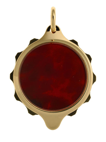 Gold Plated (Coloured Pendant with chain) - Burgundy