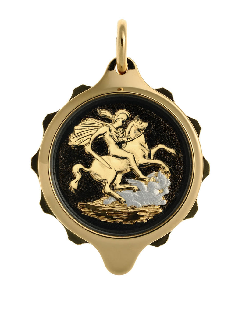 Gold Plated (Coloured Pendant with chain) - St George & Dragon