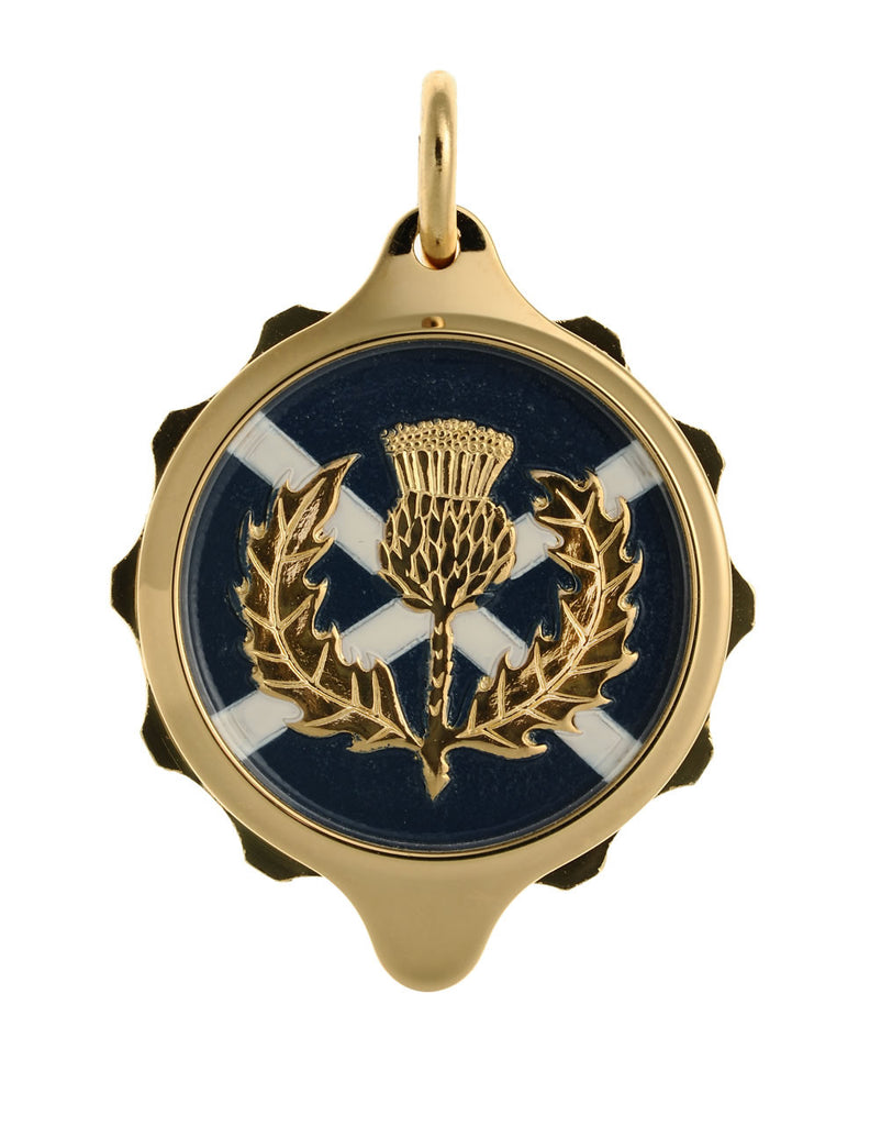 Gold Plated (Coloured Pendant with chain) - Scottish Thistle