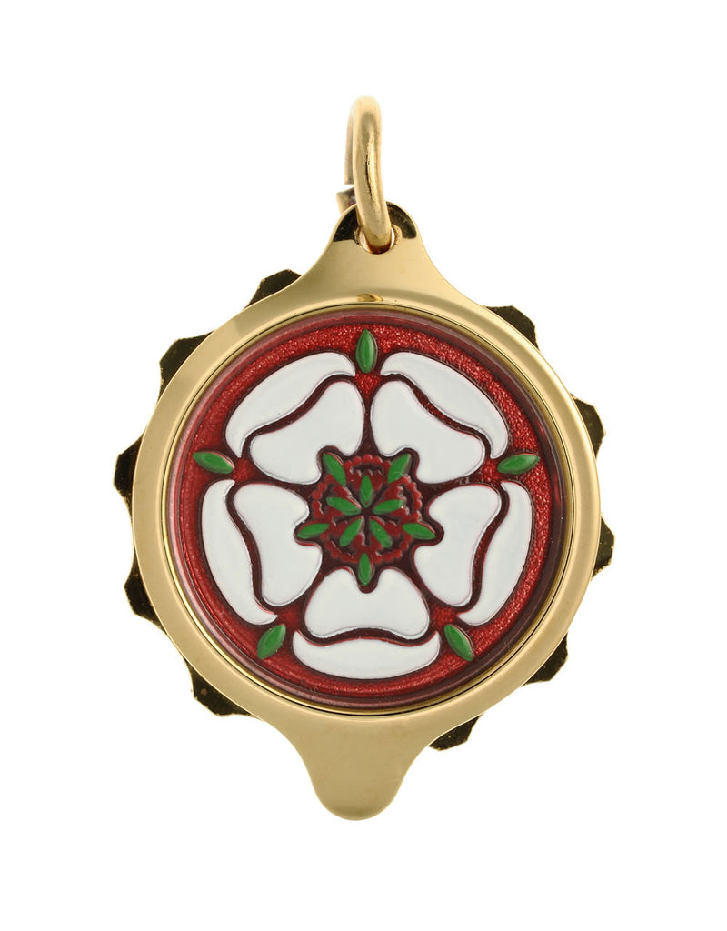 Gold Plated (Coloured Pendant with chain) - White Tudor Rose