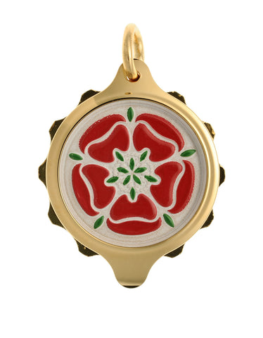 Gold Plated (Coloured Pendant with chain) - Red Tudor Rose