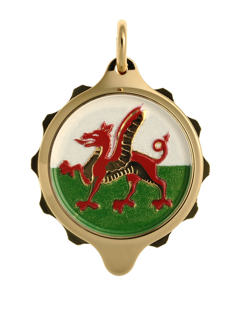 Gold Plated (Coloured Pendant with chain) - Welsh Dragon