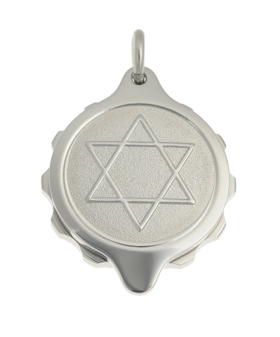Stainless Steel Star of David Pendant on 22