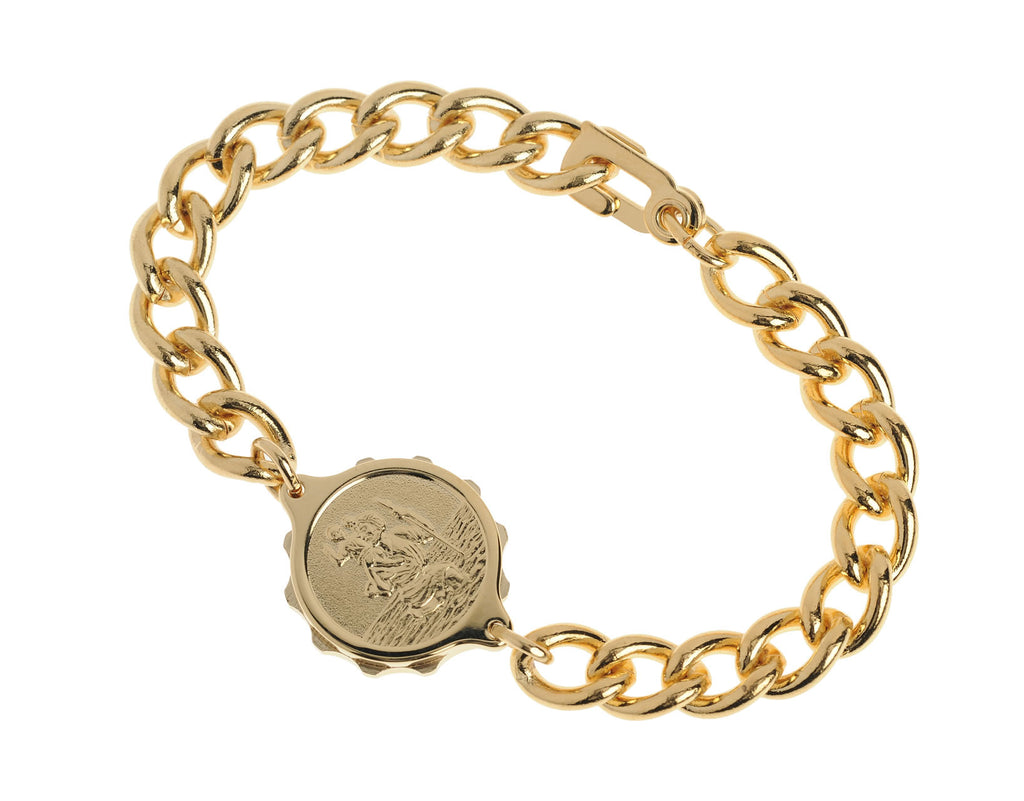 Gold Plated Bracelet with St Christopher Capsule