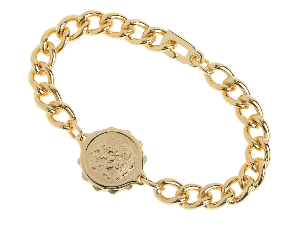 GENTS Gold Plated St George & Dragon Bracelet 232361