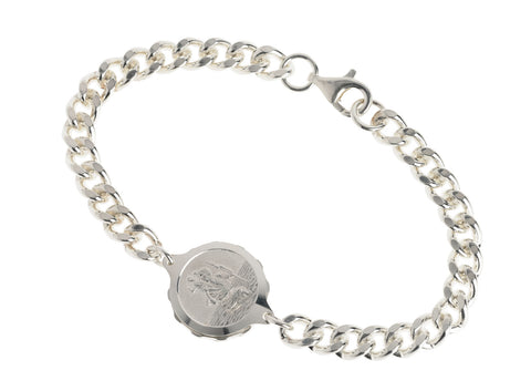 Sterling Silver Bracelet with St Christopher Capsule