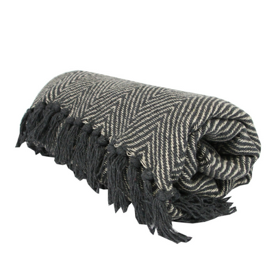 Dark Grey Chevron Woven Throw
