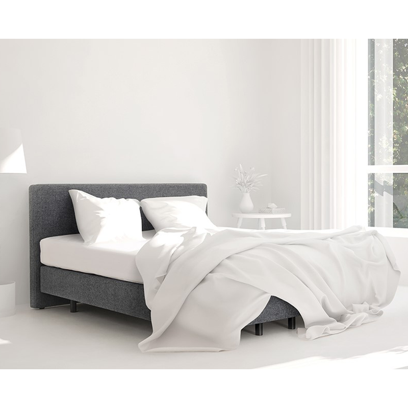 Boxspring harmony recor bedding essentials in grijze stof