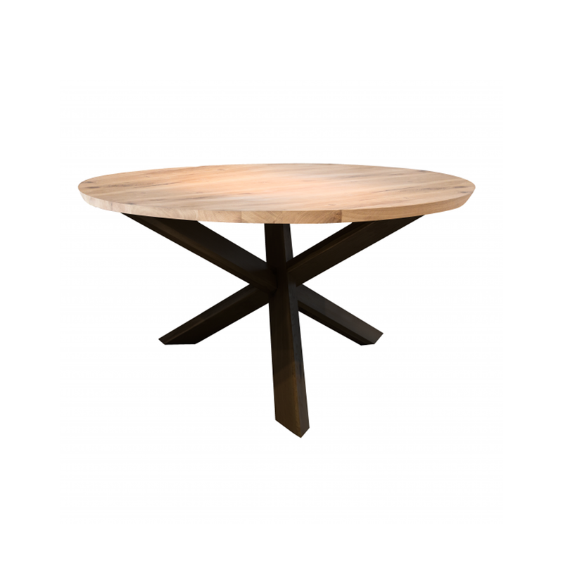 Ronde tafel met metalen poten in eik beveled top  Zara Castle Line