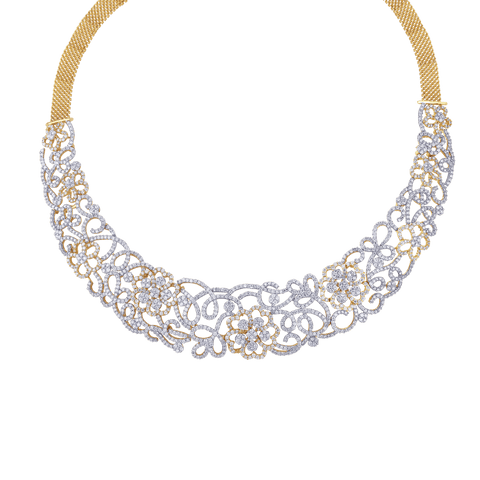YELLOW GOLD DIAMOND ROL NECKLACES