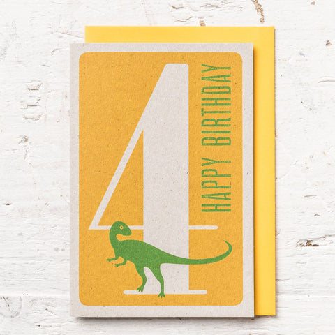 Age 4 Dinosaur Birthday Card