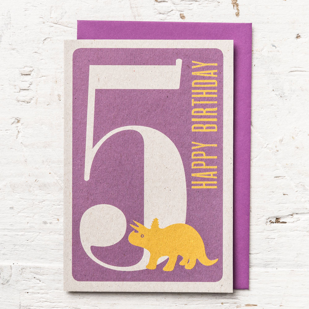 Age 5 Dinosaur Birthday Card
