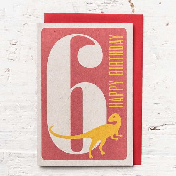 Age 6 Dinosaur Birthday Card