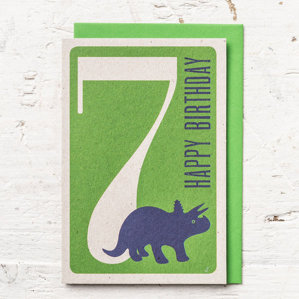 Age 7 Dinosaur Birthday Card