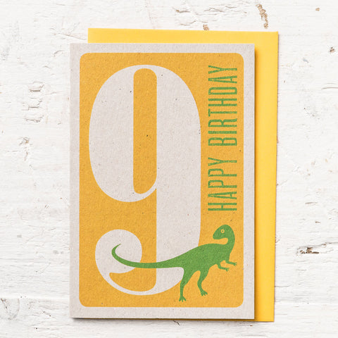 Age 9 Dinosaur Birthday Card