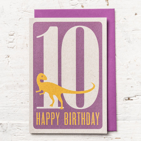 Age 10 Dinosaur Birthday Card