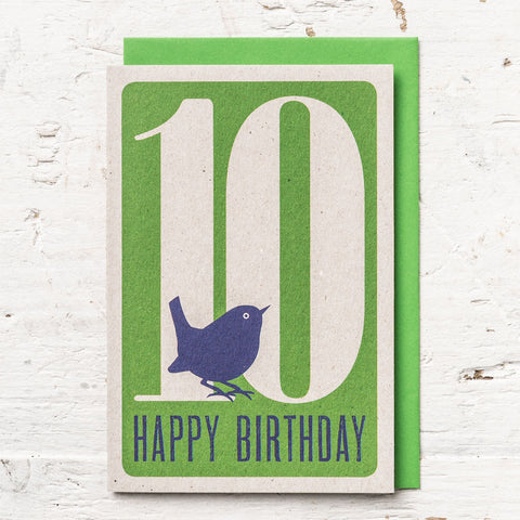 Age 10 Bird Birthday Card