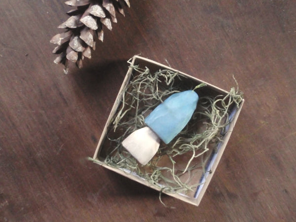 robin's egg blue toadstool / hand carved wooden mushrooms -home- prettydreamer - 4