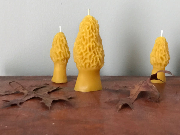 woodland morel toadstool candles