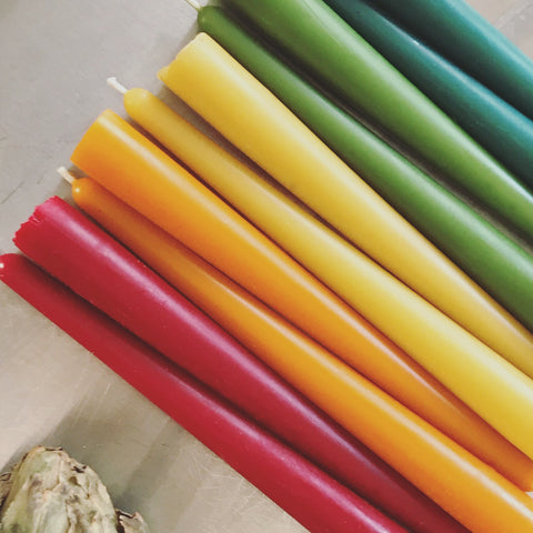 colored pure beeswax taper candles