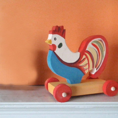 fanciful rooster push toy