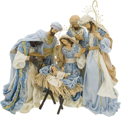 Blue Renaissance Nativity - Set of 6