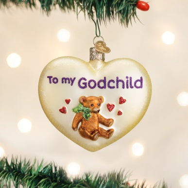 Old World Christmas Godchild Heart Ornament, 30045