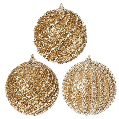 "4"" GLITTERED BALL ORNAMENT set/3"