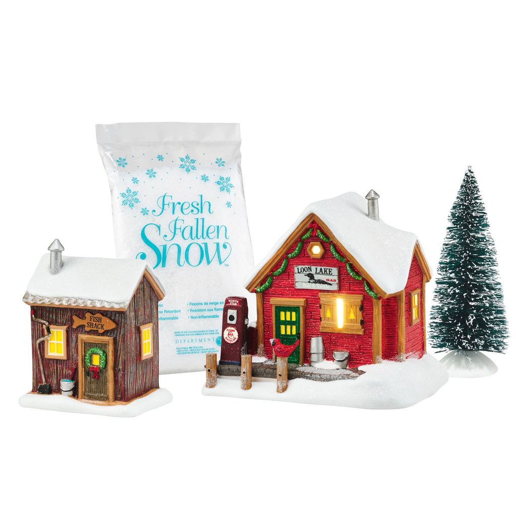 Snow Village Lakeside Service Gift Set