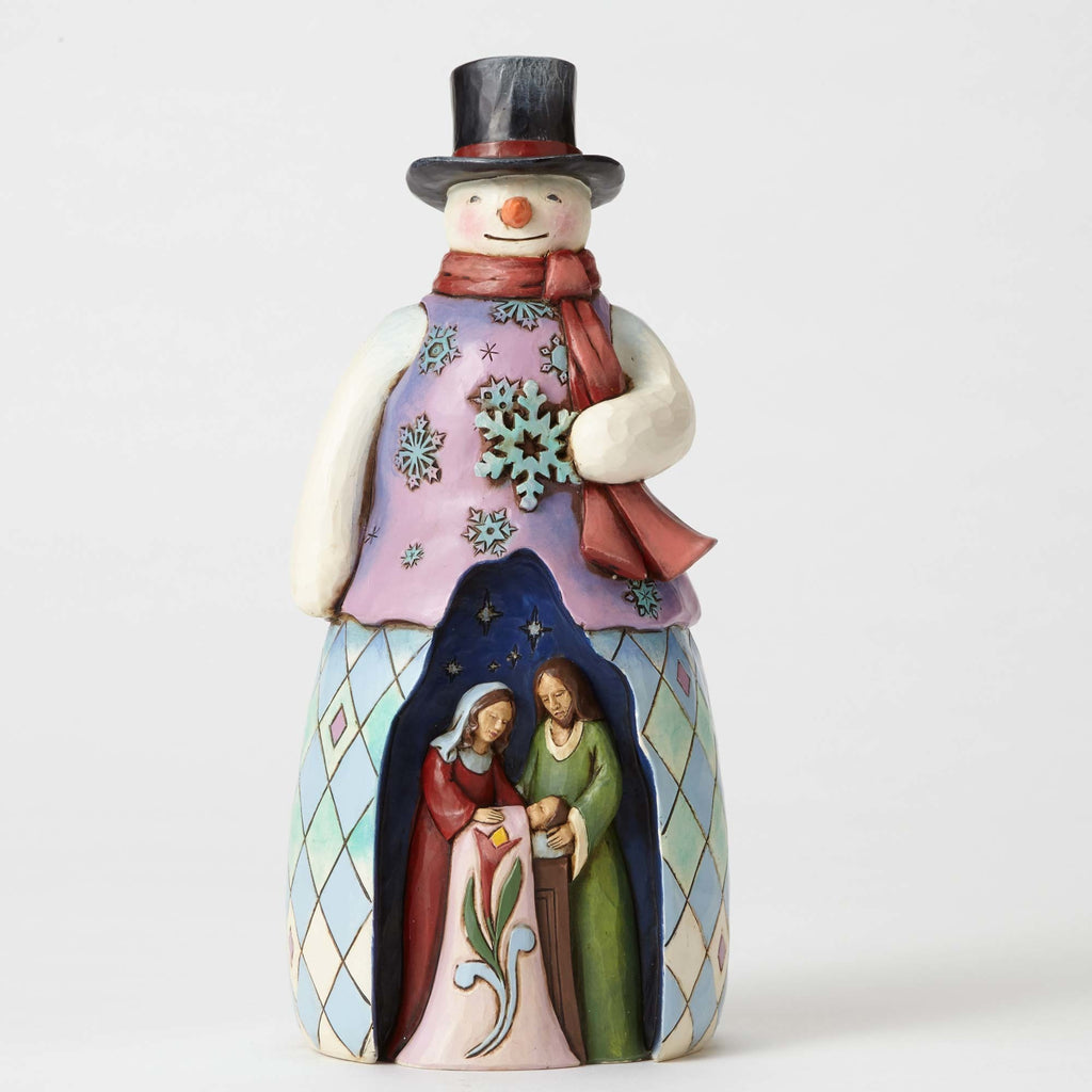 Jim Shore Snowman with Holy Family Scene