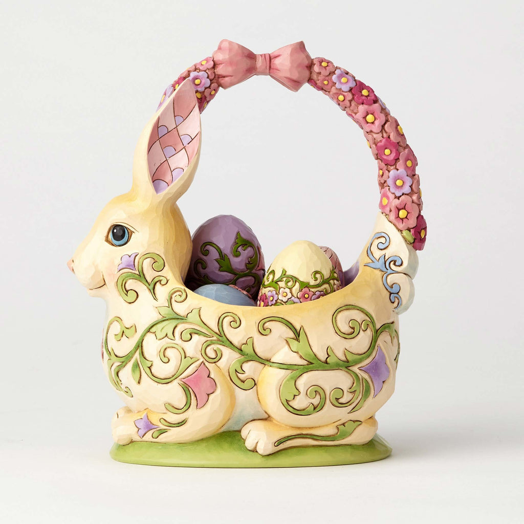 Jim Shore Bunny Basket with 4 Eggs