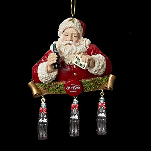 COCA-COLA SANTA WITH DANGLE BOTTLES ORNAMENT