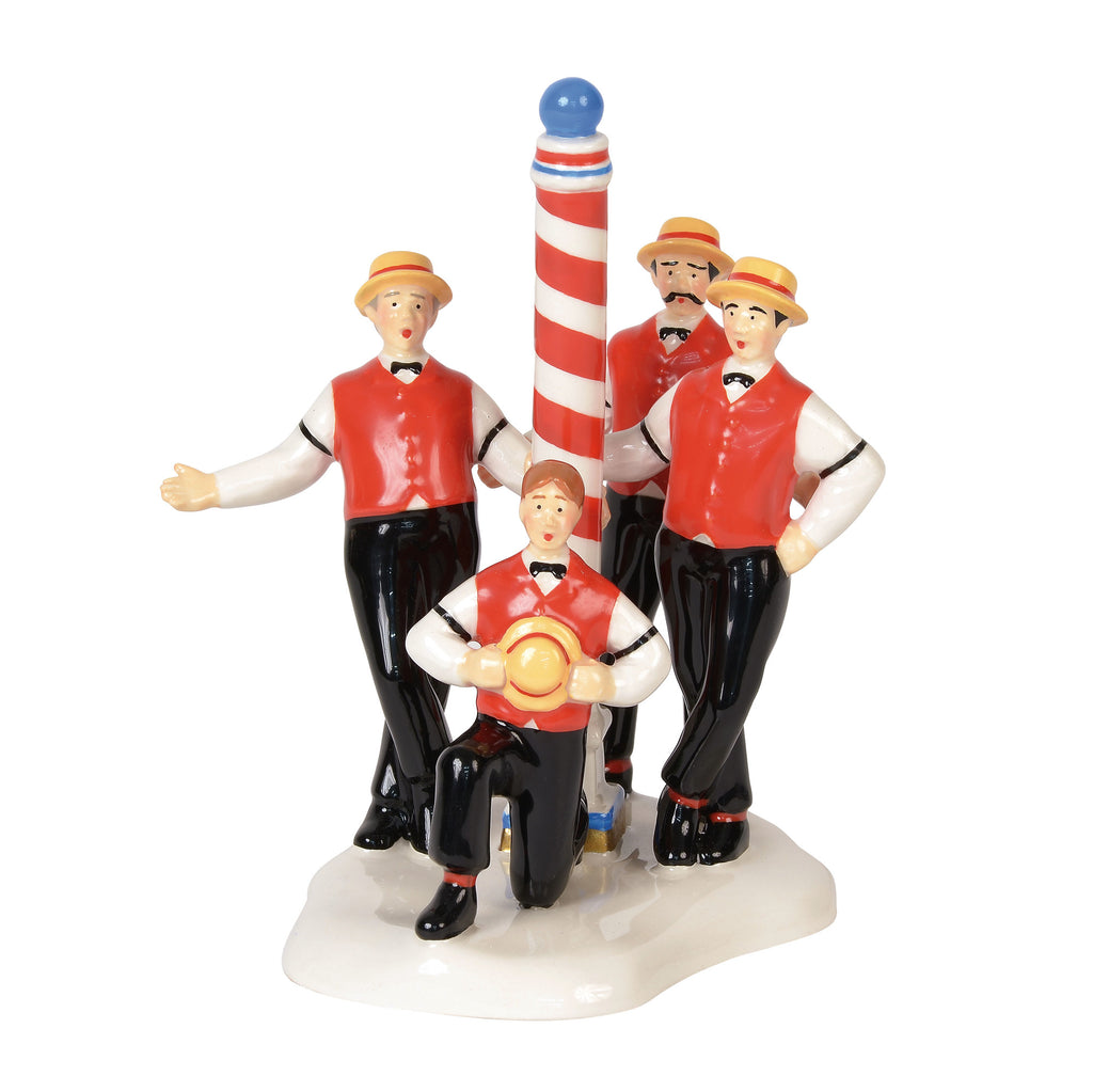 Snow Village Flattops Barbershop Quartet