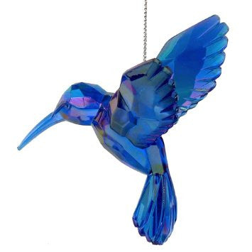 BLUE ACRYLIC HUMMINGBIRD ORNAMENT