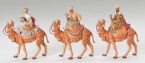 "5"" Kings on camels figs resculpted, 3 piece st, 5"" Fontanini, 71514"