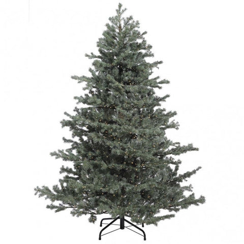 7.5 foot Green/Grey Mountain Fir Tree: Clear LED Rice Lights